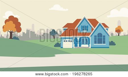 Vintage Downtown House. Vector Background For Info Graphic, Websites, Real Estate, Agency And Print