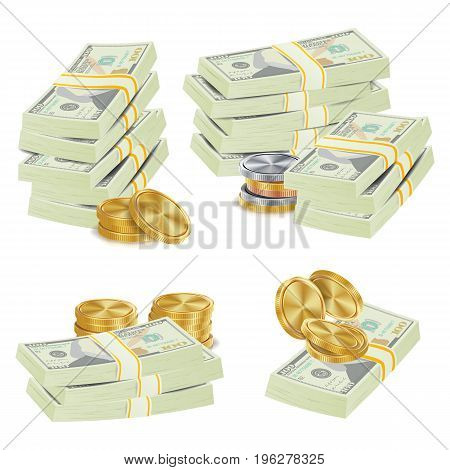 Money Banknotes Stacks Vector. 3D Cash, Gold Coins, Banknotes Piles Illustration