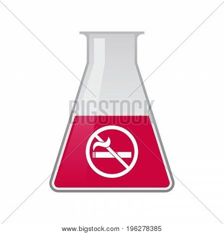 Isolated Chemical Flask With  A No Smoking Sign