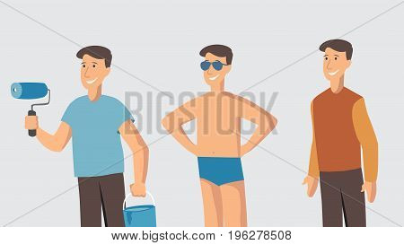 Man character different lifestyle moods Young painter holding a roller beach and casual style