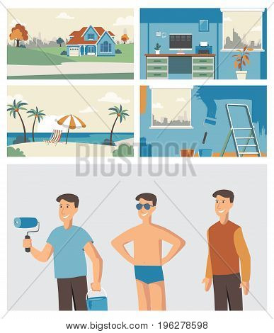 Digital Vector collection set characters and backgrounds for animation commercial business advertise mock up.