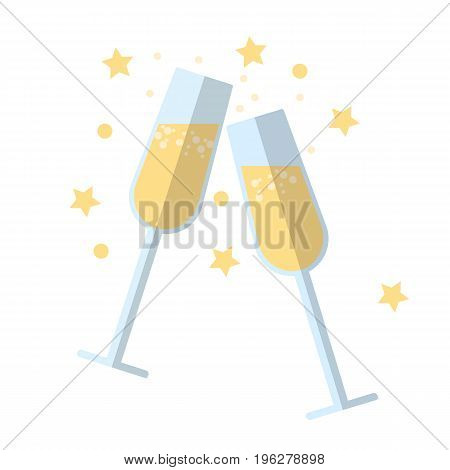 Clinking glasses flat icon, vector sign, colorful pictogram isolated on white. Champagne, celebration symbol, logo illustration. Flat style design