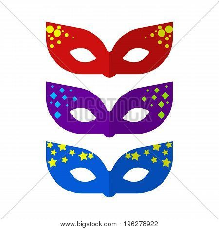 Masks party flat icon, vector sign, colorful pictogram isolated on white. Masquerade symbol, logo illustration. Flat style design