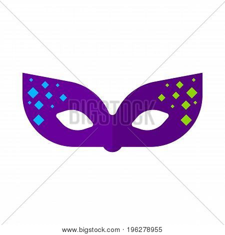 Party mask flat icon, vector sign, colorful pictogram isolated on white. Masquerade symbol, logo illustration. Flat style design
