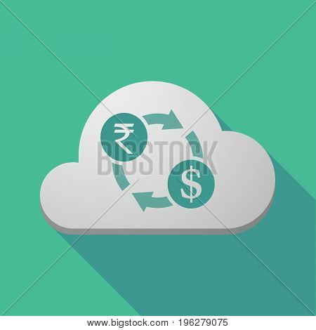 Long Shadow Cloud With  A Rupee And Dollar Exchange Sign