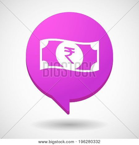 Isolated Comic Balloon With  A Rupee Bank Note Icon