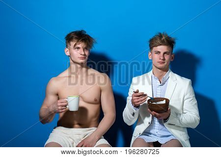 Men Drinking Morning Coffee And Eating