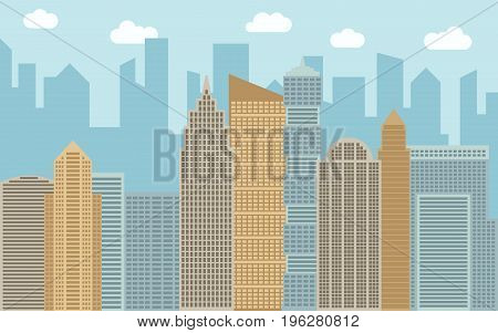 Vector urban landscape illustration. Street view with cityscape skyscrapers and modern buildings at sunny day. City space in flat style background concept.