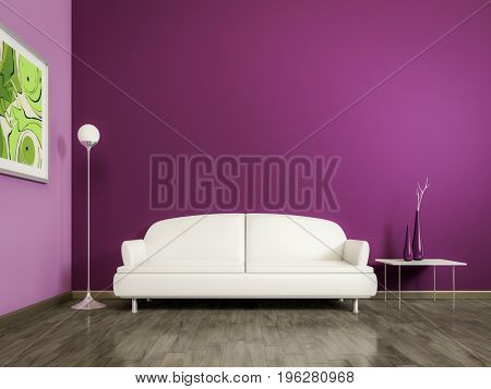 3d rendering of a purple room with a white sofa