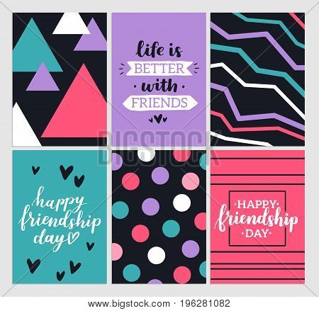 Happy friendship day 2017. Set of bright colorful posters with brush lettering about friends. Vivid illustration in retro color style. Vintage colors and shapes. Grreting cards collection.