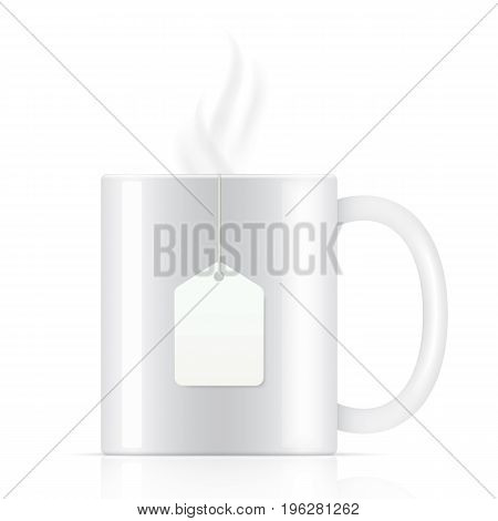 White vector teacup with tea bag, isolated on background. Steam coming up from a white vector tea cup template.