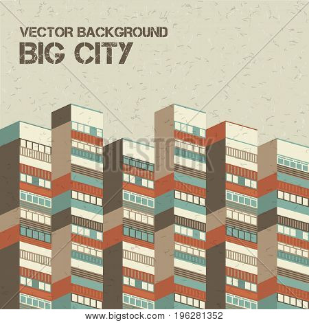 Architectural textural beige big city background with 3d houses vector illustration