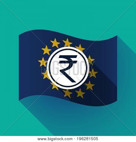 Long Shadow Eu Flag With  A Rupee Coin Icon