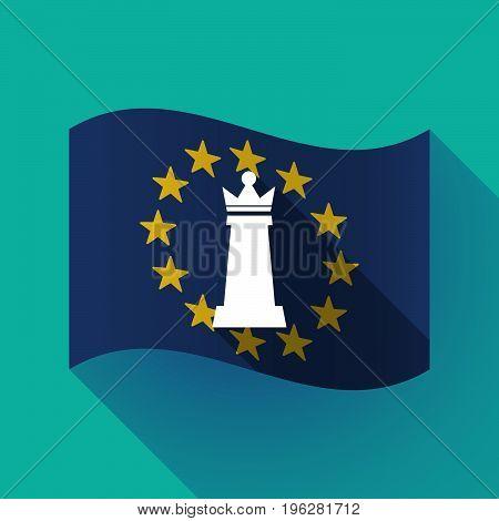 Long Shadow Eu Flag With A  Queen   Chess Figure