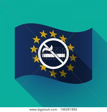 Long Shadow Eu Flag With  A No Smoking Sign