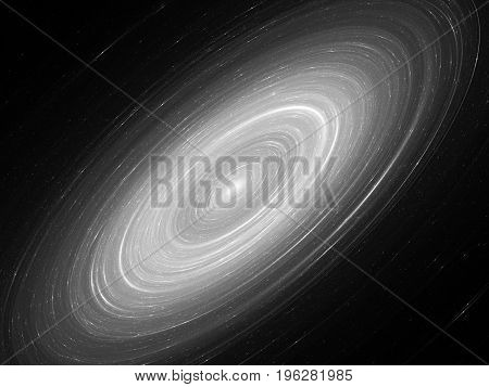 Glowing Andromeda galaxy abstract black and white background 3D rendering