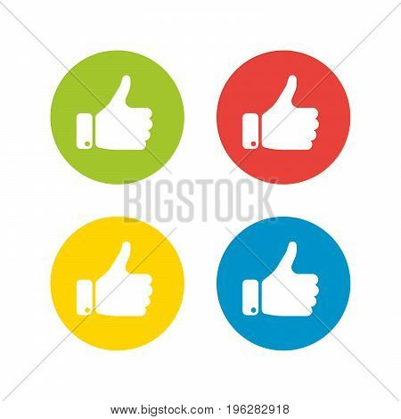 White hand silhouette with thumb up in the circle. Set of four icons in different colors. Gesture of like, agree, yes, approval or encouragement. Simple flat vector illustration.