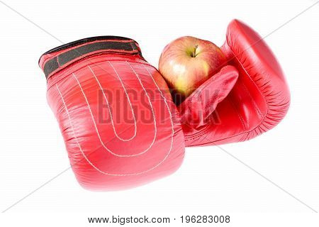 Sport Equipment And Fruit Isolated On White Background, Close Up