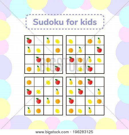 vector illustration. Sudoku game for children with pictures. Logic game for preschool children. Educational game. rhombus, star, square, circle. rebus for children. Apples, pears oranges lemons