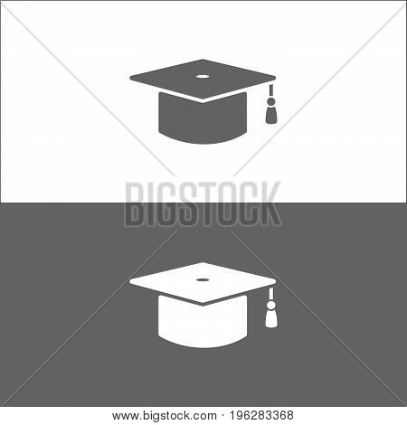 Mortarboard icon on black and white background
