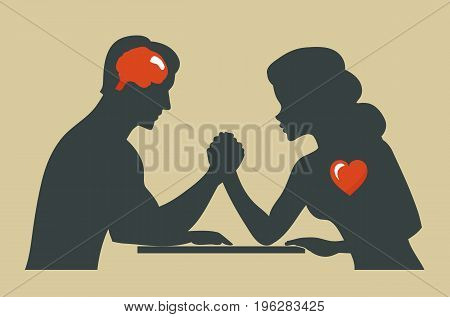Man and woman. Silhouette of Conflict between couple. Heart or brain.