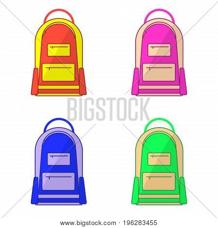 Set of kids school bags isolated on white background. Flat design. Vector illustration