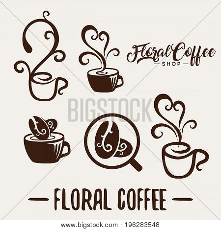 Floral coffee shop logo template natural abstract coffee cup with steam coffee house emblem creative cafe logotype modern trendy symbol design vector illustration
