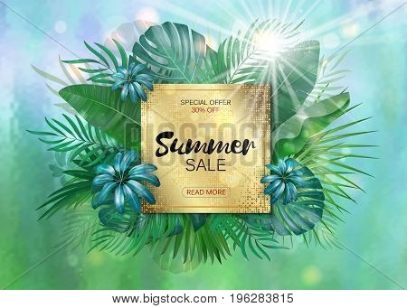 Sale. Square summer sale tropical leaves frame witn sun light. Tropical flowers, leaves and plants background
