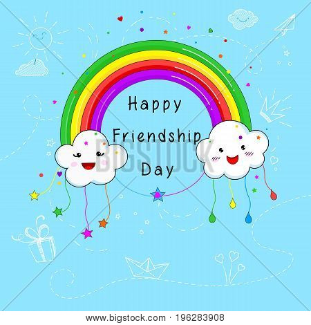 Vector cheerful colorful illustration with clouds and rainbow towards International Friendship Day for banner, background, leaflets, greetings, invitations, cards