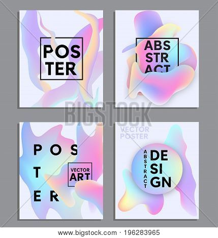 Liquid color posters set. Fluid shapes abstract design. Liquid Background for cards, invitations. posters. Mobile Technologies Concept.