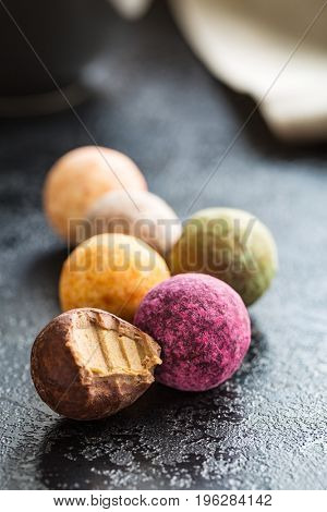 Various sweet candies. Truffles and caramel bonbons.