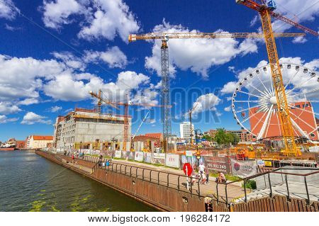 GDANSK, POLAND - JULY 13, 2017: Building constraction at Motlawa river in Gdansk, Poland. Gdansk is the historical capital of Polish Pomerania.