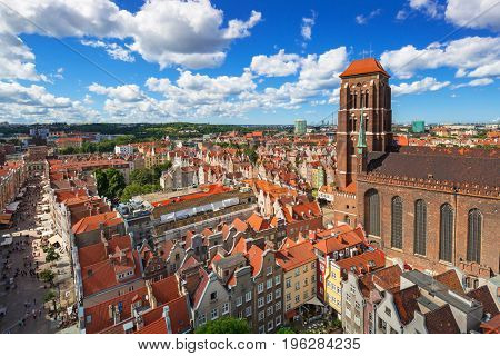 GDANSK, POLAND - JULY 13, 2017: Saint Mary Cathedral in the old town of Gdansk, Poland. Gdansk is the historical capital of Polish Pomerania.
