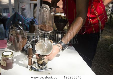 Thai People Use Syphon Coffee Maker Made Hot Coffee For Show And Sale