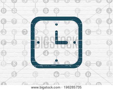 Timeline concept: Painted blue Watch icon on White Brick wall background with Scheme Of Hexadecimal Code