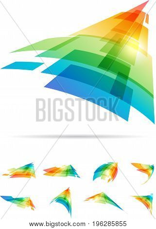Colorful motion abstract signs set, direction tech symbol on white