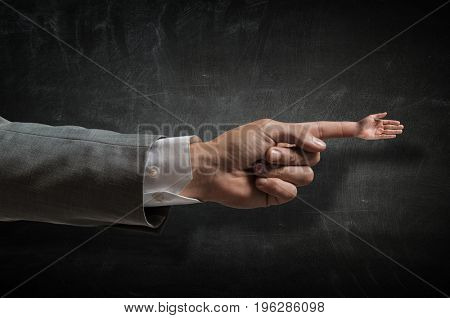 Greeting gesture on forefinger .