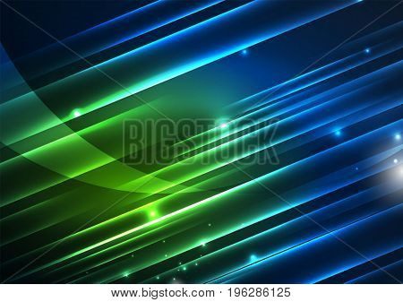 Glowing futuristic lines in the dark space with stars concept. Energy technology idea