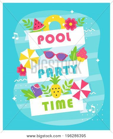 Summer Pool or Beach Party Poster or Invitation Card. Vector Design