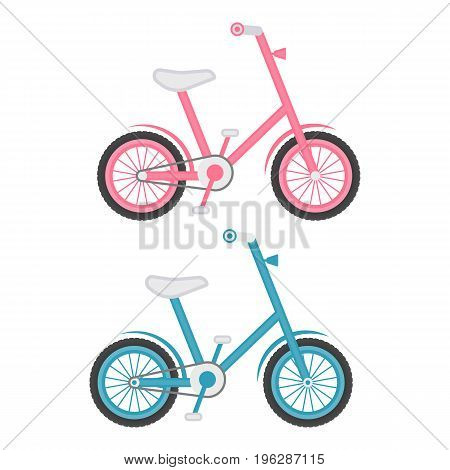 Set Of Two Kids Bicycles Isolated On A White Background. Vector.