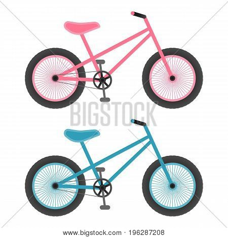 Pink And Blue Bicycles For Kids Isolated On A White Background.