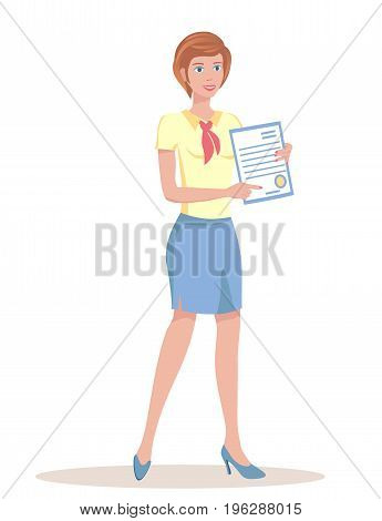 Woman holding a document. The girl shows the place for the signature.Vector illustration EPS-8.