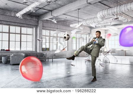 Playing office soccer