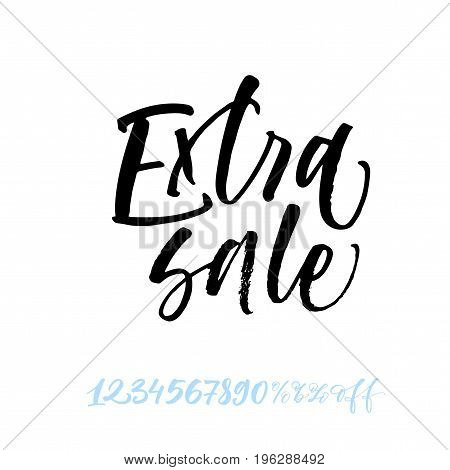 Extra sale phrase. Set of vector numbers from 1 to 0. Number Ink illustration. Modern brush calligraphy. Isolated on white background.