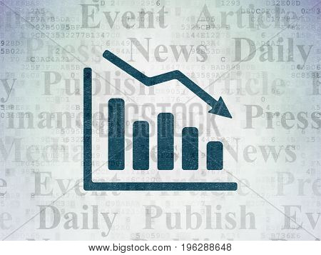 News concept: Painted blue Decline Graph icon on Digital Data Paper background with  Tag Cloud