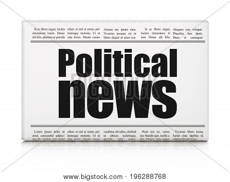 News concept: newspaper headline Political News on White background, 3D rendering