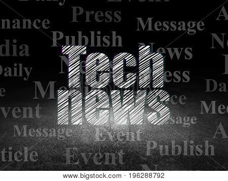 News concept: Glowing text Tech News in grunge dark room with Dirty Floor, black background with  Tag Cloud