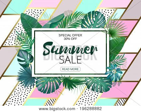 Sale. Square summer sale tropical leaves frame on hand drawing patch work backdrop. Tropical flowers, leaves and plants background. Horizontal format.