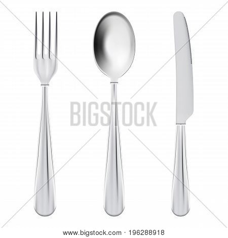 Cutlery Set - Fork, Spoon And Knife Isolated On A White Background. Realistic Vector Illustration.