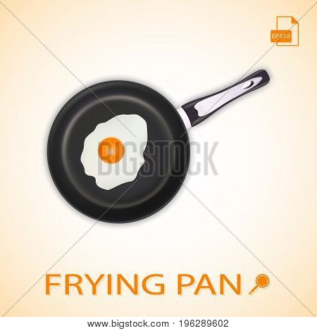 Fried Egg On A Frying Pan Isolated On A Background. Vector.